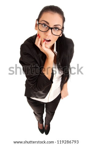 Funny portrait of surprised woman - stock photo