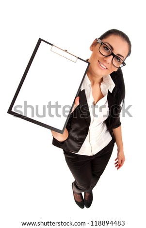 Funny portrait of woman holding clip board - stock photo