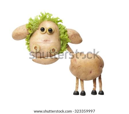 Funny potato sheep - stock photo