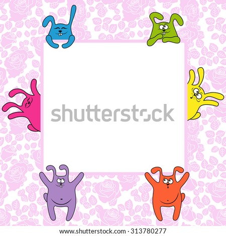 Funny rabbits holding a big advertising banner, illustration on the seamless rose background - stock photo