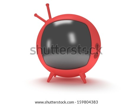 Funny red retro TV with antenna and four legs. 3d render. Isolated on white back. - stock photo