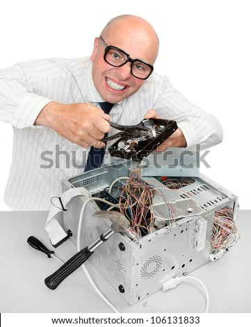 Funny repairman with computer. Under construction concept. - stock photo