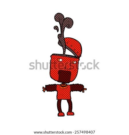 funny retro comic book style cartoon robot with open head - stock photo