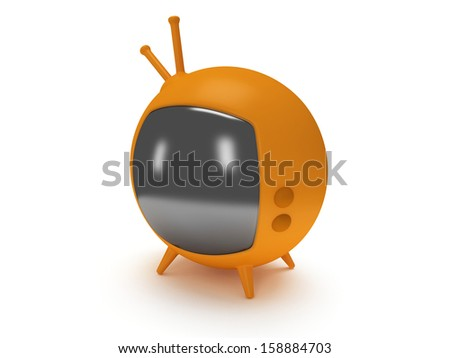 Funny retro TV with antenna and four legs. 3d render. Isolated on white back. - stock photo