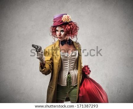 funny robbery - stock photo