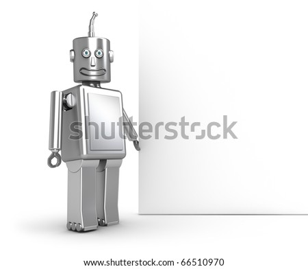 Funny robot and white blank. My own design - stock photo