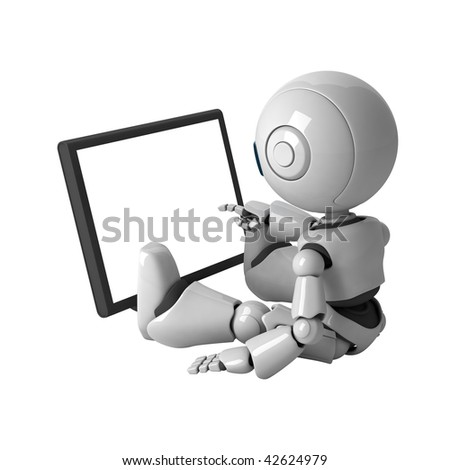 Funny robot sit with monitor - stock photo