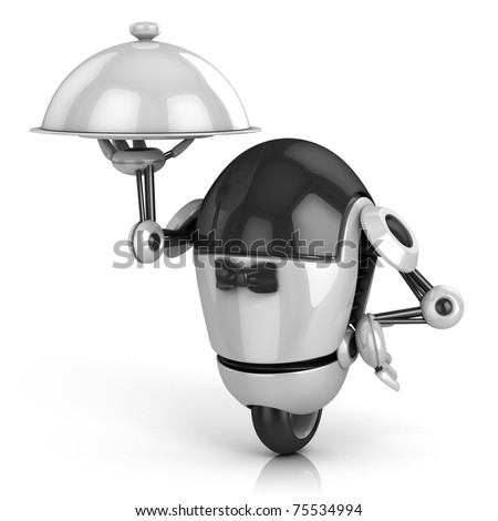 funny robot - waiter 3d illustration isolated on the white background - stock photo