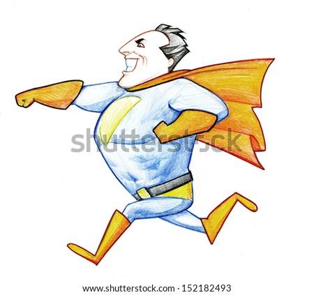 Funny running superhero - stock photo