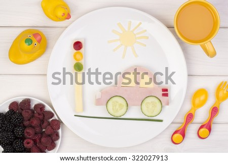 Funny sandwich for a child - stock photo