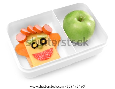 Funny sandwich in box isolated on white - stock photo