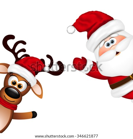 Funny Santa and Reindeer on white background. - stock photo