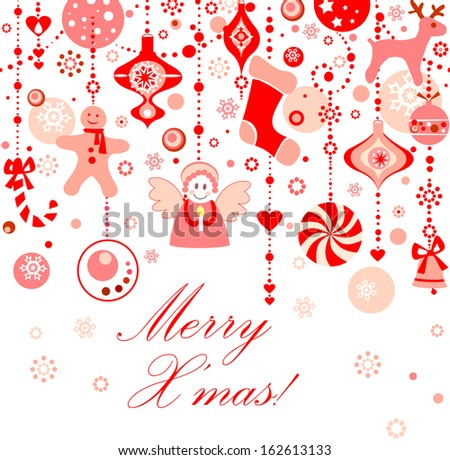 Funny seamless xmas red background. Raster copy - stock photo