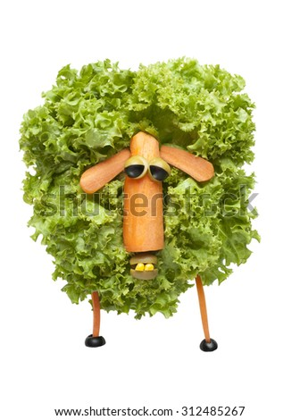 Funny sheep made of vegetables - stock photo