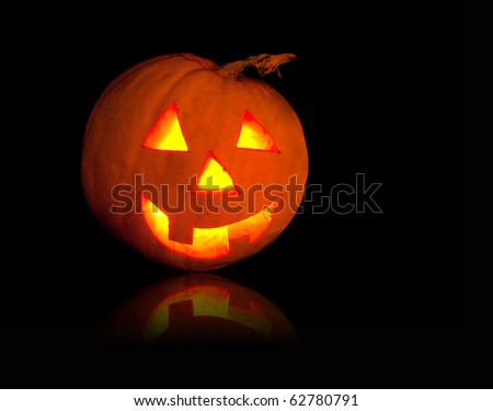 Funny shining pumpkin, halloween theme - stock photo