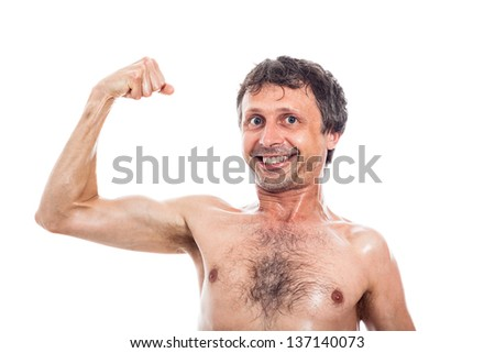Funny shirtless man showing his biceps, isolated on white background - stock photo