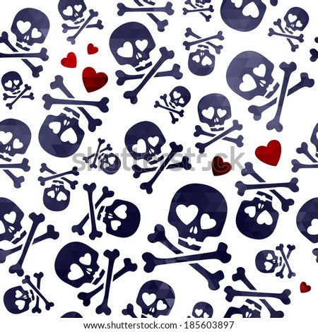 Funny skulls in love - red and black pattern. Good for Valentine's Day design. Raster version. - stock photo