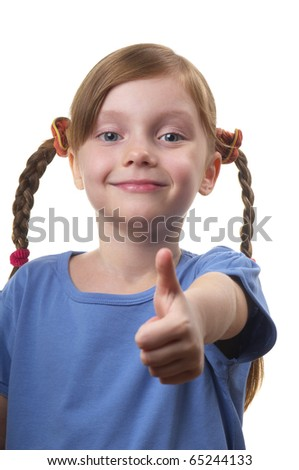 Funny smiling little girl portrait isolated over white background (big thumb up) - stock photo