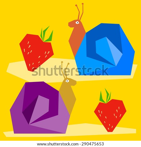 Funny snail and strawberry. Cartoon bright colored graphic abstract illustration for use in design card, invitation, poster, banner, placard, billboard. Raster copy - stock photo