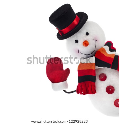 funny snowman isolated on white background - stock photo
