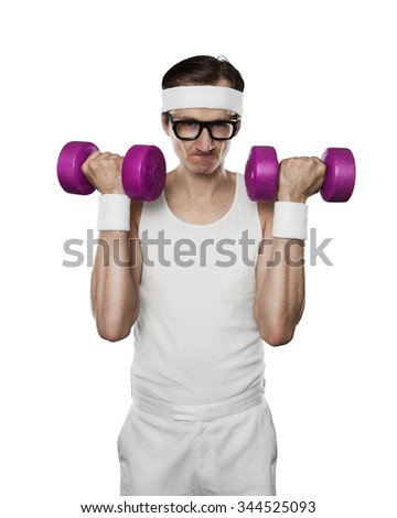 Funny sport nerd lifting weights isolated on white background - stock photo