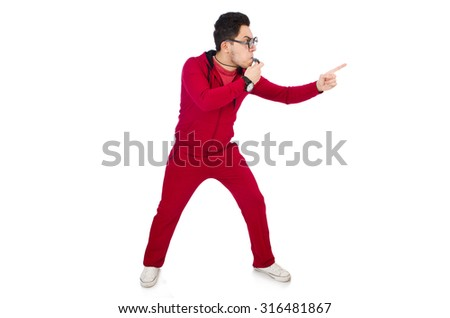Funny sportsman with whistle isolated on white - stock photo