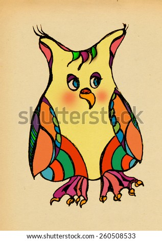 Funny stylized owl painted on the background of old paper - stock photo