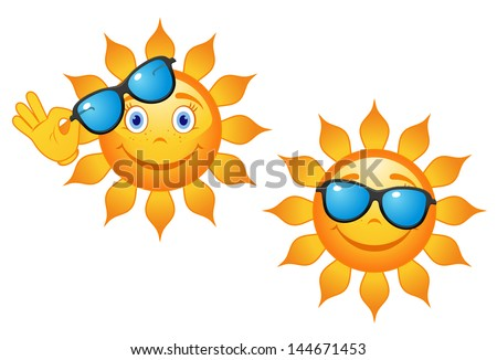 Funny sun in sunglasses for travel or weather concept design or idea of logo. Vector version also available in gallery - stock photo