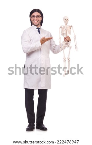 Funny teacher with skeleton isolated on white - stock photo