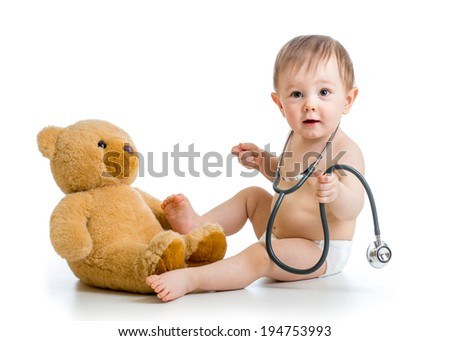 funny toddler weared diaper with plush toy - stock photo