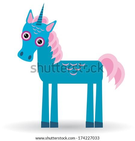 Funny unicorn on a white background.  - stock photo