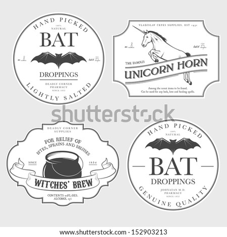 Funny vintage Halloween potion labels - stock photo