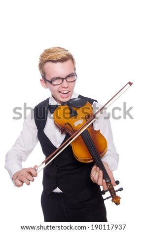Funny violin player on white - stock photo