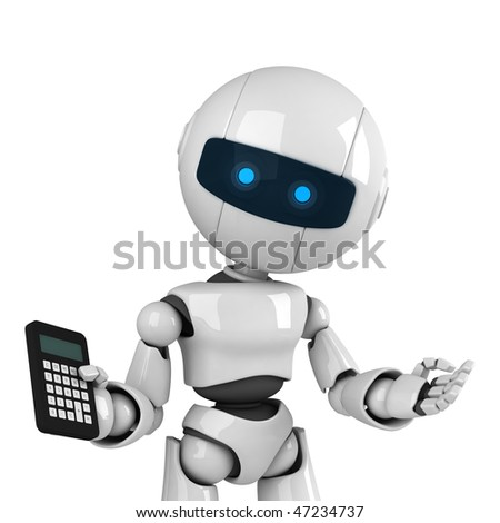 Funny white robot stay with calculator - stock photo