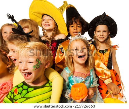 Funny wide angle shoot of kids in costumes - stock photo