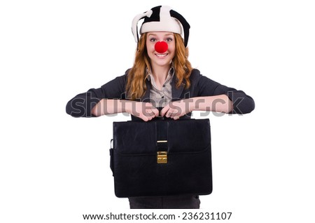 Funny woman clown isolated on the white - stock photo