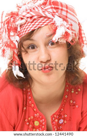 funny woman presents her kiss - stock photo