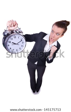 Funny woman with clock on white - stock photo