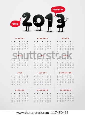 Funny year 2013 calendar - JPG Version - stock photo