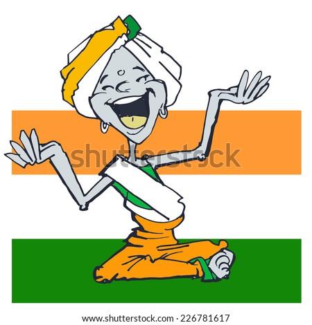 funny yogi, clipart on cartoon style - stock photo