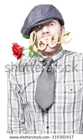 Funny Young Man Asking For Forgiveness While Saying Sorry With Love And A Red Rose On White Background - stock photo