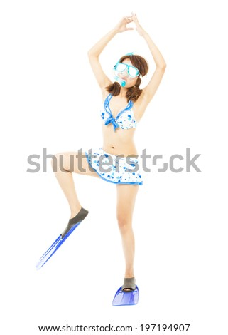 funny young woman make a pose with a scuba equipment - stock photo