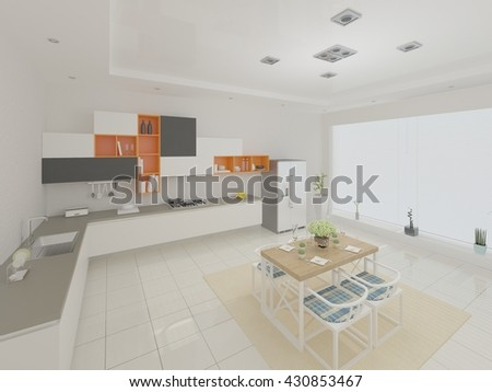 Funtsionalnost convenient kitchen with a large window, 3d rendering. - stock photo