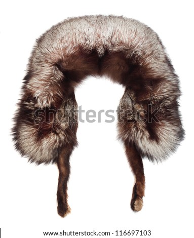 Fur cap from arctic fox skin. Picture with space for your picture or text. - stock photo
