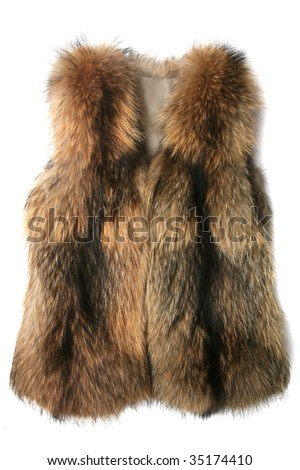fur vest isolated on white - stock photo