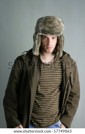 fur winter fashion hat young man brown autumn color - stock photo