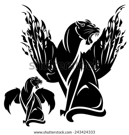 furious winged panther - black and white fantasy animal design - stock photo