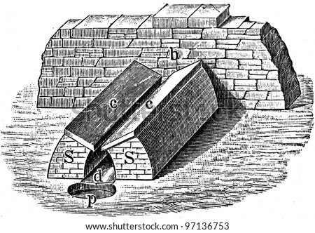 """furnace - an illustration to article """"Metallurgy"""" of the encyclopedia publishers Education, St. Petersburg, Russian Empire, 1896 - stock photo"""