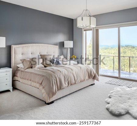 Furnished master bedroom in new luxury home - stock photo