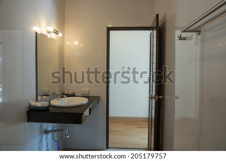 Furniture and decorations in the bathroom. Make the bathroom look much better - stock photo